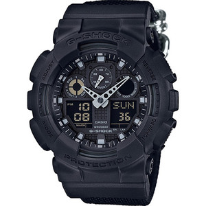 Casio G-Shock Blackout Nylon Strap Chronograph Watch GA-100BBN-1AER