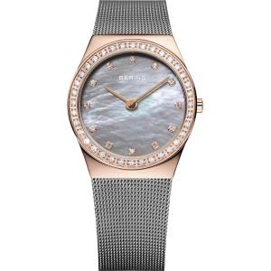 Bering Classic Ladies Milanese Mesh Strap Swarovski Watch 12430-369