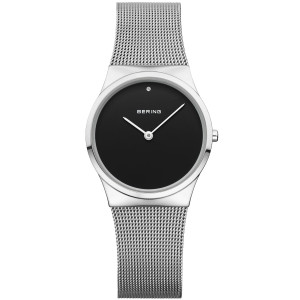 Bering Classic Ladies Black Dial Stainless-Steel Strap Watch 12130-002