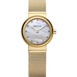 Bering Classic Ladies PVD Gold Plated Milanese Bracelet Watch 10122-334