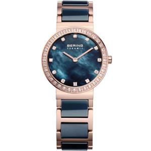 Bering Ceramic Ladies Blue Mother Of Pearl Dial Swarovski Crystals Watch 10729-767