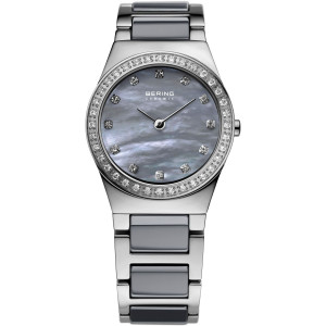 Bering Ceramic Ladies Grey Mother Of Pearl Dial Swarovski Crystals Watch 32426-789
