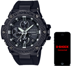 G-Shock Steel and Carbon Black Bluetooth Tough Solar Resin Strap Watch GST-B100X-1AER