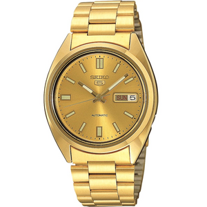 Seiko 5 Men's Automatic Gold Dial Stainless Steel Watch SNXS80
