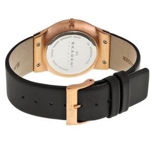 Skagen Watch Replacement Strap 22mm For 233XXLRLB Black Leather With Free Screws