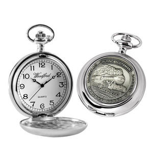 Woodford Flying Scotsman Quartz Medallion Full Hunter Chrome Plated Pocket Watch HT106
