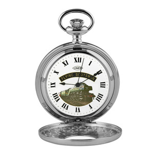 Woodford Flying Scotsman Half Hunter Chrome Pocket Watch HT103