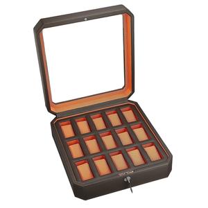 Wolf Windsor Dark Brown And Orange Watch Storage Box For 15 Watches 458506