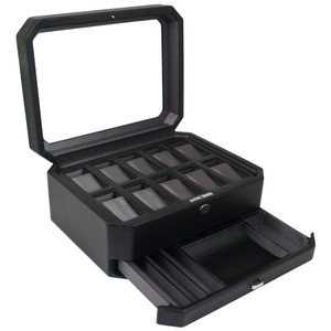 Wolf Windsor Black Watch Storage Box With Drawer For 10 Watches 4586029