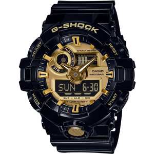 G-Shock Black and Gold Analogue Digital World Time and Chronograph Watch GA-710GB-1BER