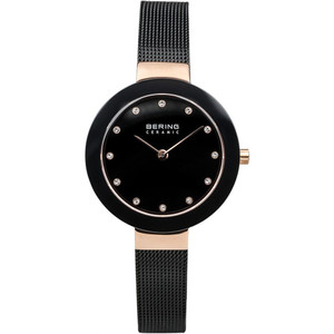 Bering Ceramic Ladies Black Dial Milanese Strap Watch 11429-166
