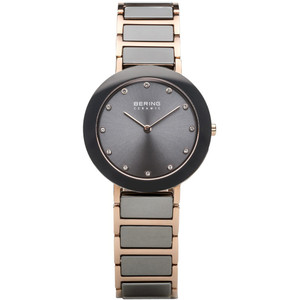 Bering Ceramic Ladies Grey Dial Swarovski Crystal Watch 11435-769