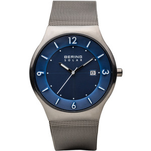 Bering Men's Solar Blue Dial Milanese Strap Watch 14440-007