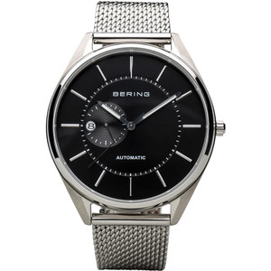 Bering Men's Automatic Black Dial Silver Strap Watch 16243-077