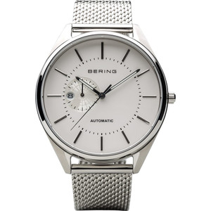 Bering Men's Automatic White Dial Silver Strap Watch 16243-000