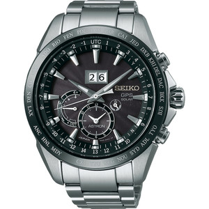 Seiko Astron GPS Solar Stainless-Steel Black Dial Watch SSE149J1