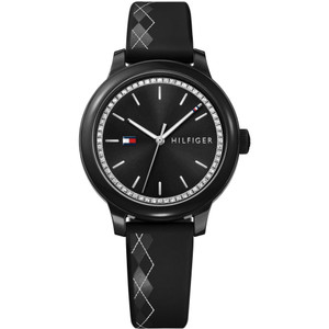 Tommy Hilfiger Ladies Ashley Black Dial Silicone Strap Watch 1781815