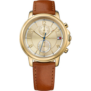 Tommy Hilfiger Ladies Claudia Gold Dial Leather Strap Watch 1781818