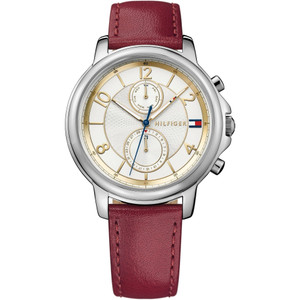 Tommy Hilfiger Ladies Claudia Silver & White Dial Leather Strap Watch 1781816