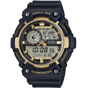 G-Shock Black and Black Analogue Digital World Time Watch AEQ-200W-9AVEF