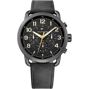 Tommy Hilfiger Men's Briggs Black Dial Black Leather Strap Watch 1791426