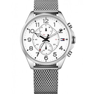 Tommy Hilfiger Men's Dean White Dial Stainless-Steel Milanese Bracelet Watch 1791277