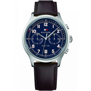 Tommy Hilfiger Men's Emerson Blue Dial Leather Strap Watch 1791385