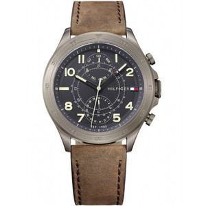 Tommy Hilfiger Men's Hudson Grey Dial Leather Strap Watch 1791343