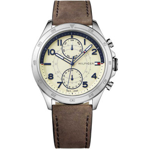 Tommy Hilfiger Men's Hudson Parchment Dial Leather Strap Watch 1791344