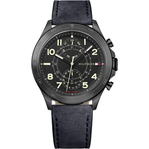 Tommy Hilfiger Men's Hudson Black Dial Leather Strap Watch 1791345