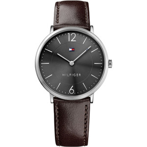 Tommy Hilfiger Men's Ultra Slim Grey Dial Leather Strap Watch 1710352