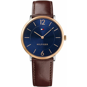 Tommy Hilfiger Men's Ultra Slim Navy Dial Leather Strap Watch 1710354