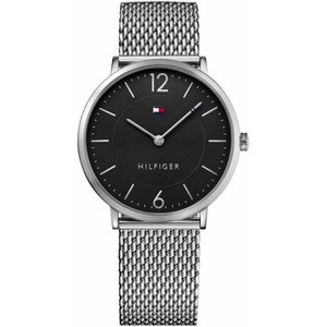 Tommy Hilfiger Men's Ultra Slim Black Dial Stainless-Steel Milanese Bracelet Watch 1710355