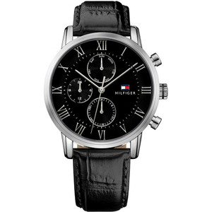 Tommy Hilfiger Men's Kane Black Dial Leather Strap Watch 1791401