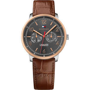 Tommy Hilfiger Men's Will Grey Dial Leather Strap Watch 1791357