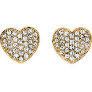 Tommy Hilfiger Fine Core Swarovski Crystals Gold Plated Heart Pave Stud Earrings 2700655