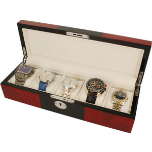 Orbit Watch Box Red And Black Wood Finish With Lock Fits 5 Watches OW176G