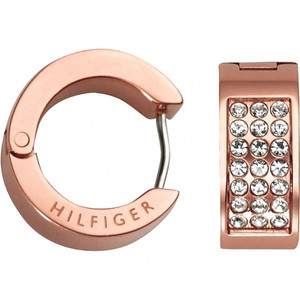 Tommy Hilfiger Holiday Swarovski Crystals Rose Gold Pave Huggie Earrings 2700573