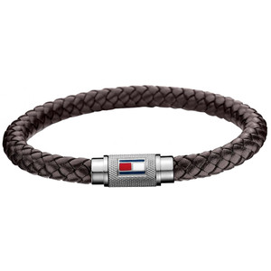 Tommy Hilfiger Casual Core Men's Braided Brown Leather Magnet Barrel Bracelet 2700998
