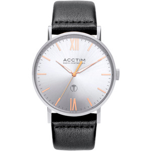 Acctim Sterling Men's Radio Controlled Silver Dial Black Leather Strap Watch 60413