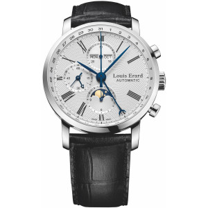 Louis Erard Men's Excellence Mechanical Chronograph Moonphase Watch 80231AA21