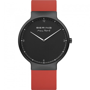 Bering Men's Max Rene Black Dial Red Rubber Watch With Interchangeable Strap 15540-523