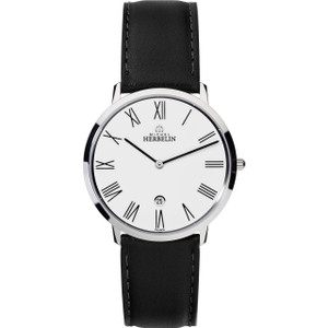 Michel Herbelin Men's Ikone Grande White Dial Leather Strap Watch 19515/01