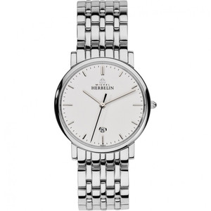 Michel Herbelin Men's Classic White Dial Stainless-Steel Bracelet Watch 12543/B11