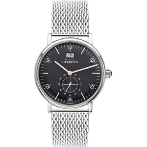 Michel Herbelin Men's Montmartre Black Dial Stainless-Steel Mesh Bracelet Watch 18247/14B