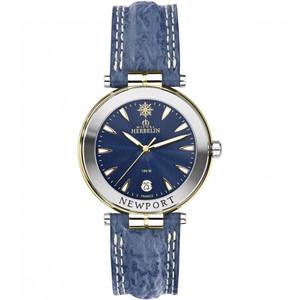 Michel Herbelin Men's Newport Yacht Club Blue Dial Leather Strap Watch 12255/T35