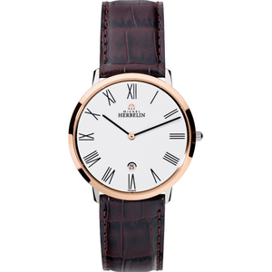 Michel Herbelin Men's Ikone Grande White Dial Leather Strap Watch 19515/TR01MA