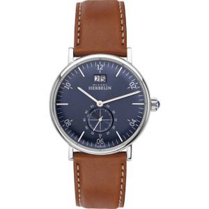 Michel Herbelin Men's Montmartre Blue Dial Leather Strap Watch 18247/15GO