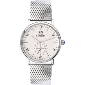 Michel Herbelin Men's Montmartre White Dial Stainless-Steel Mesh Bracelet Watch 18247/11B