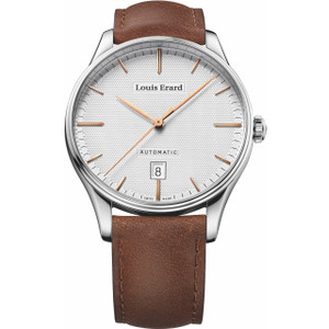 Louis Erard Men's Heritage Automatic Silver Dial Brown Leather Strap Watch 69287AA31